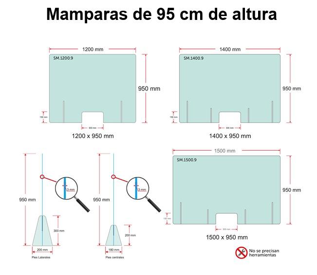 mamparas de 95 centimetros proteccion covid19