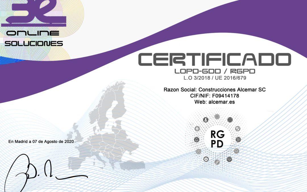 Certificado RGPD LOPD GDD LSSI Construcciones Alcemar SC