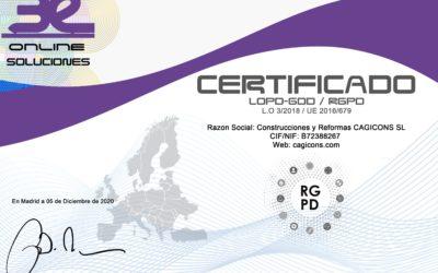 Certificado RGPD LOPD GDD LSSI Construcciones y Reformas CAGICONS SL