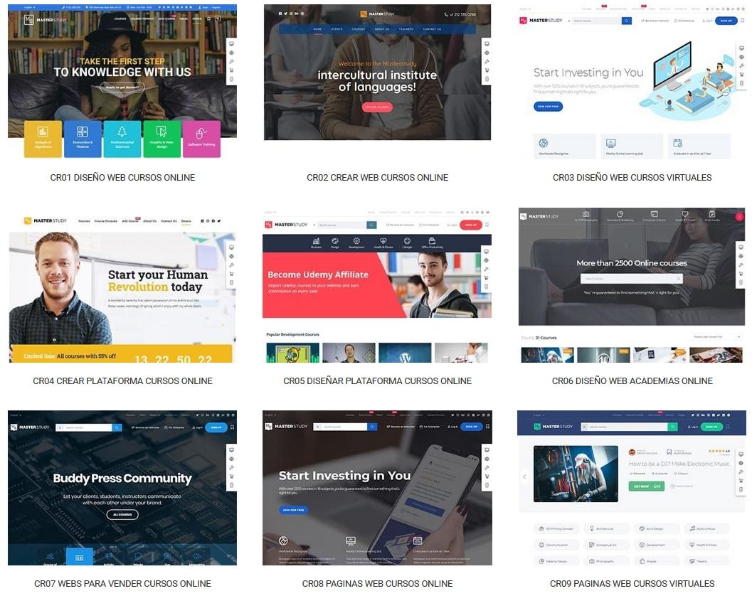 muestrario de diseño de paginas para vender cursos online